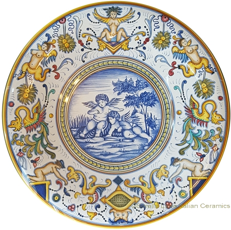 Ceramic Plate - Angeli/Amorini with Nude Border 35cm