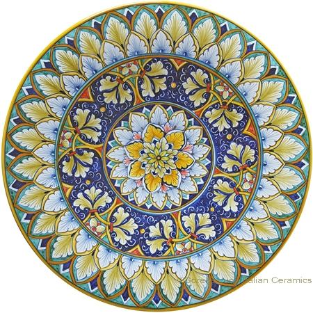 Ceramic Majolica Plate - Fleur de Lis peacock - 30cm
