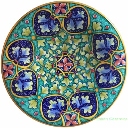 Ceramic Majolica Plate Geometrico Green Blue 25cm