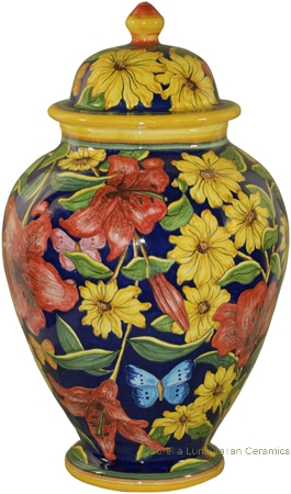 Italian Ceramic Centerpiece Urn - Blue Lillies and Daisies