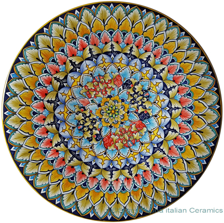 Ceramic Majolica Plate - Flower 7 Red Blue 42cm