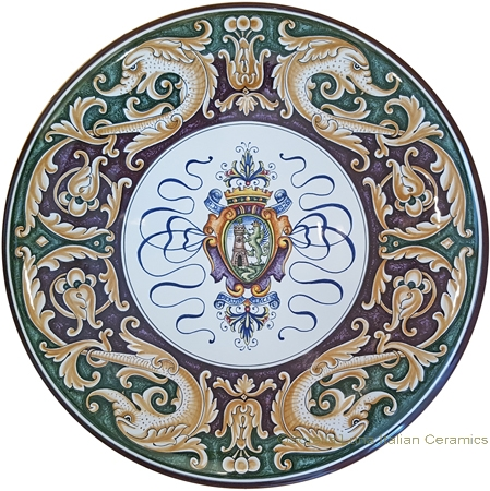 Ceramic Majolica Plate - Castle Shield/Delfini 42cm