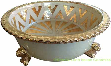 Tuscan Centerpiece Bowl - Lions Feet Creme/Gold