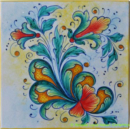 Tile Flower Green Orange