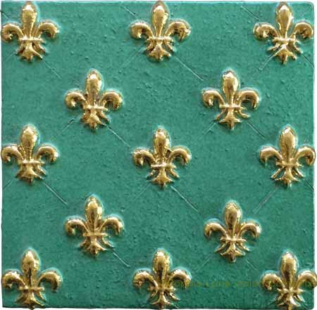 Tile - Aqua Marine Gold Fleur De Lis