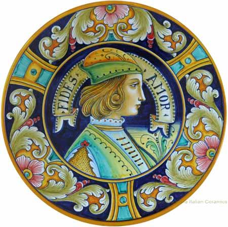 Italian Hand Painted Ceramic Majolica Plate 30cm