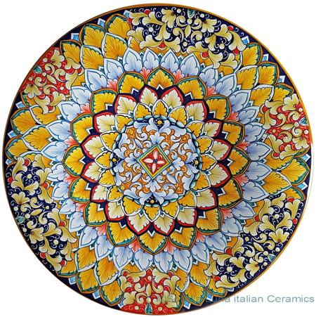 Ceramic Majolica Plate - Flower Orange Light Blue 42cm