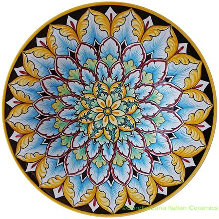 Ceramic Majolica Plate Flower 8 25cm