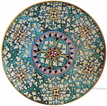 Ceramic Majolica Plate - Green Squares 35cm