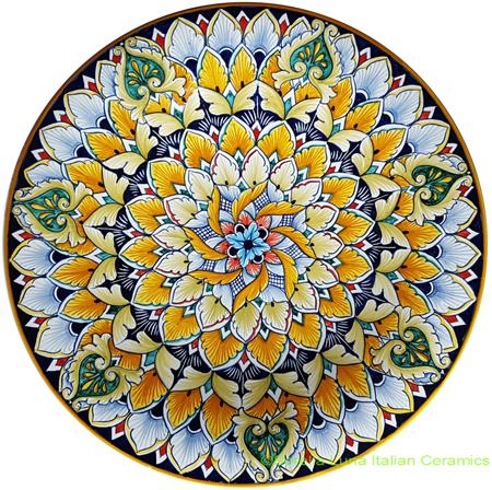 Ceramic Majolica Plate Geometrico Green 30cm