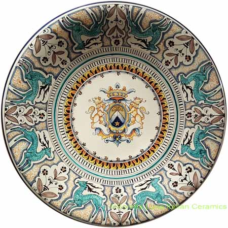 Tuscan Italian Plate - Lion Shield with Deer - 55cm