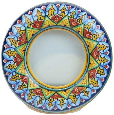 Ceramic Majolica Picture Frame Round
