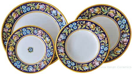 Deruta Italian Dinner Place Setting - Blue Flower