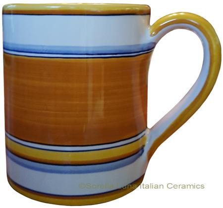 Majolica coffee mug cup - Pennellato Arancia