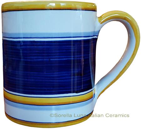 Majolica coffee mug cup - Pennellato Blu
