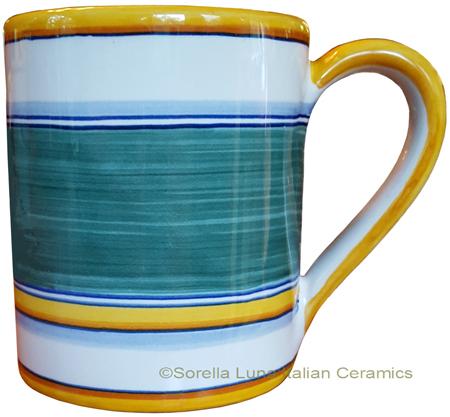 Majolica coffee mug cup - Pennellato Verde