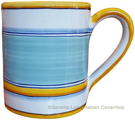 Majolica coffee mug cup - Pennellato Salvia