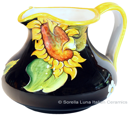 Ceramic Majolica Pitcher - Black Sunflowers