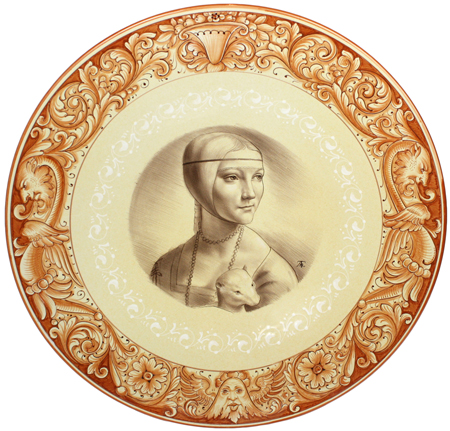 Italian Ceramic DaVinci Figure Plate 47cm
