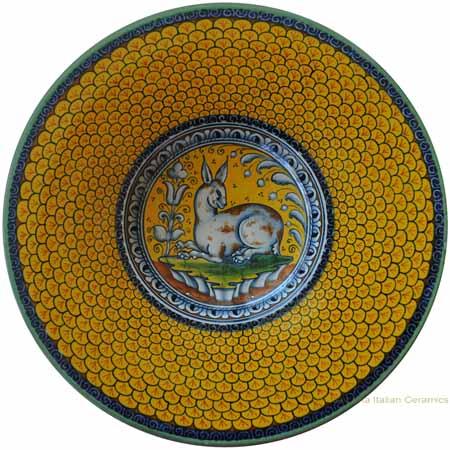 Majolica Plate - Rabbit/Hare Squame Giallo 25cm