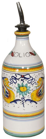 Ceramic Majolica Olive Oil Dispenser - Raffaellesco