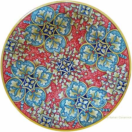 Majolica Plate - Red/Green Fleur De Lis 30cm