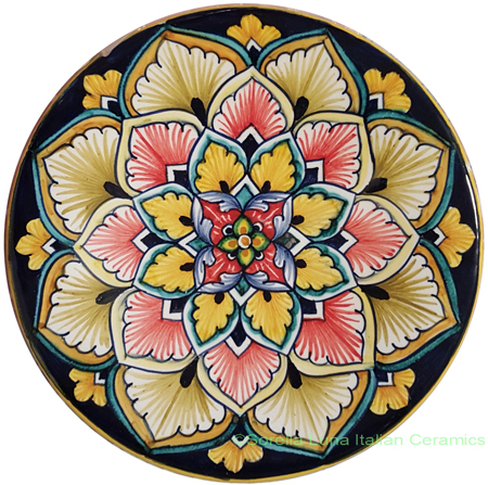 Ceramic Majolica Plate Red Spears