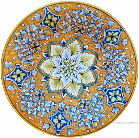 Majolica Plate - Orange Flower Acanthus 30cm
