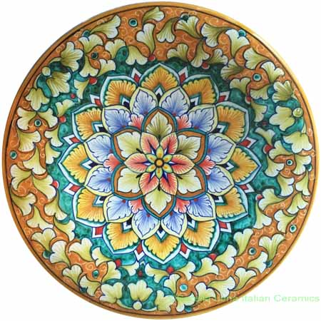 Ceramic Majolica Plate G12 Green Orange Snowflake 25cm
