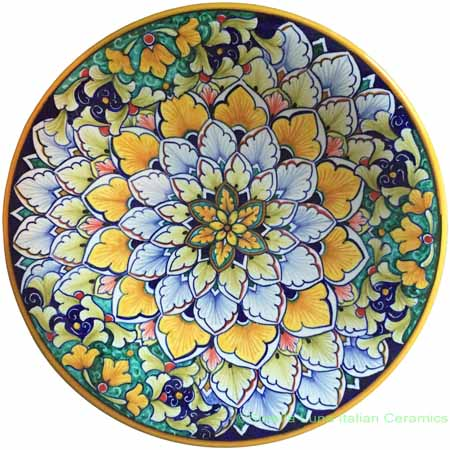 Ceramic Majolica Plate Orange Green Snowflake 25cm