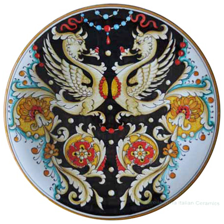 Majolica Plate - Raffaellesco on Black 30cm