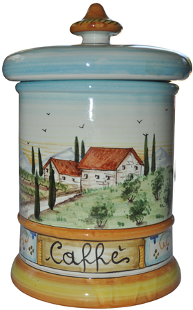 Ceramic Majolica Coffee Jar Tuscan Country Poppies