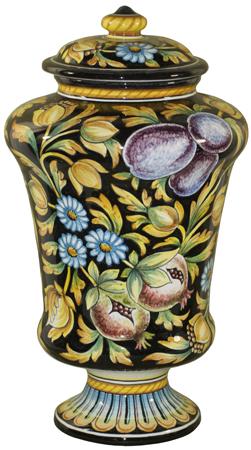 Italian Ceramic Centerpiece Urn - Blue Floral Frutta