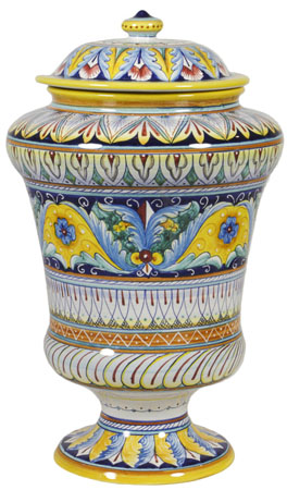 Italian Ceramic Centerpiece Urn - Yellow Crest