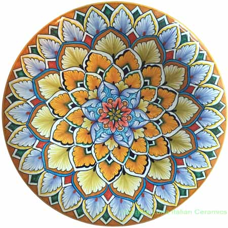 Ceramic Majolica Plate G12 Light Blue Snowflake 25cm