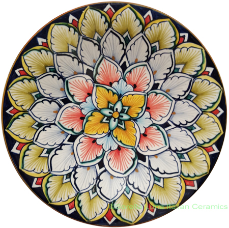 Ceramic Majolica Plate Orange Blue Flower 4