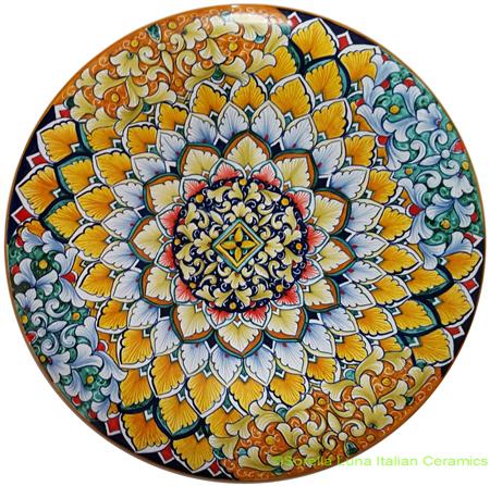 Ceramic Majolica Plate Green Orange 35cm