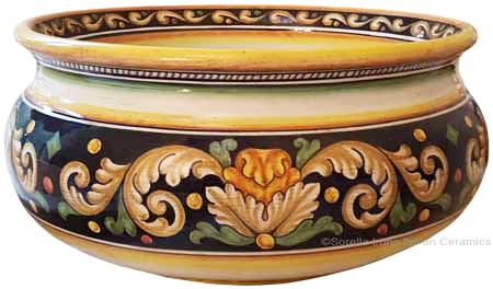 Italian Floor/Planter Vase - Ornato Black 32cm