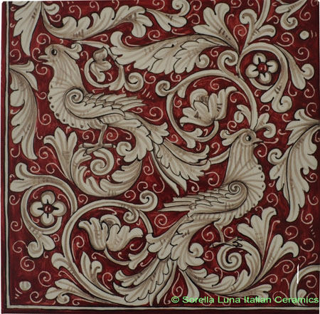 Tile Fonda Rossa - Red Doves Corner 3