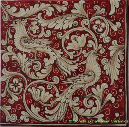 Tile Fonda Rossa - Red Doves Corner 4