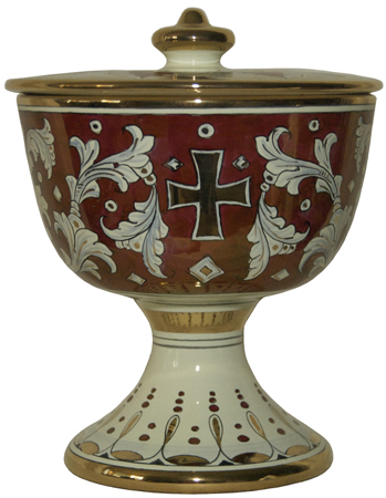 Urn - Pisside Rubino e Oro - Ruby and Gold with Cross