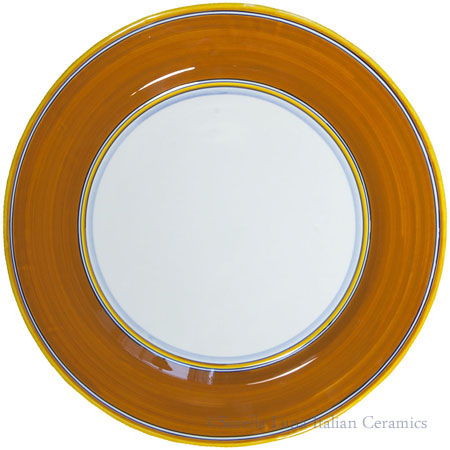 Italian Charger Plate - Yellow Border Solid Orange