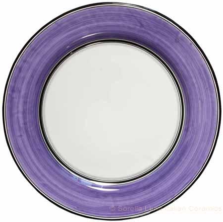 Italian Charger Plate - Black Border Solid Purple Viola