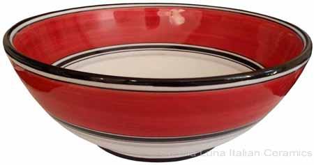 Italian Dessert/Soup Bowl - Black Rim Solid Bordeaux