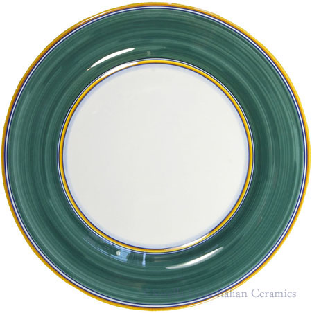 Italian Dinner Plate Yellow Rim Solid Green