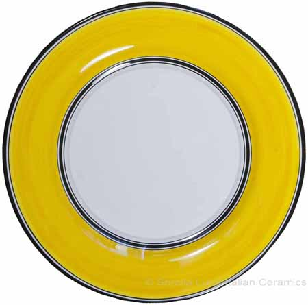 Italian Dinner Plate Black Rim Solid Yellow - Giallo