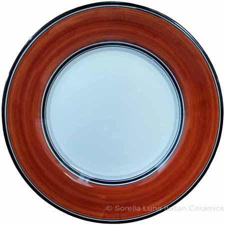Italian Dinner Plate Black Rim Solid Rossicio