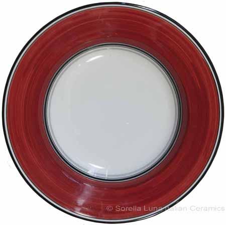 Deruta Italian Pasta Plate - Black Border Solid Bordeaux