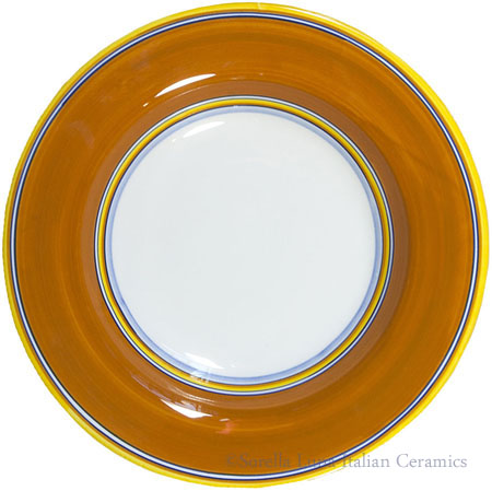 Deruta Italian Pasta Plate - Yellow Border Solid Orange
