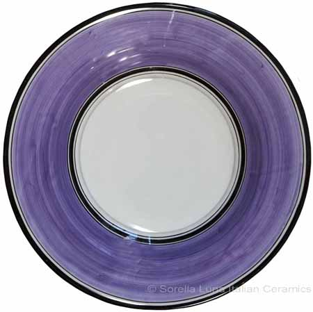 Deruta Italian Pasta Plate - Black Border Solid Purple - Viola